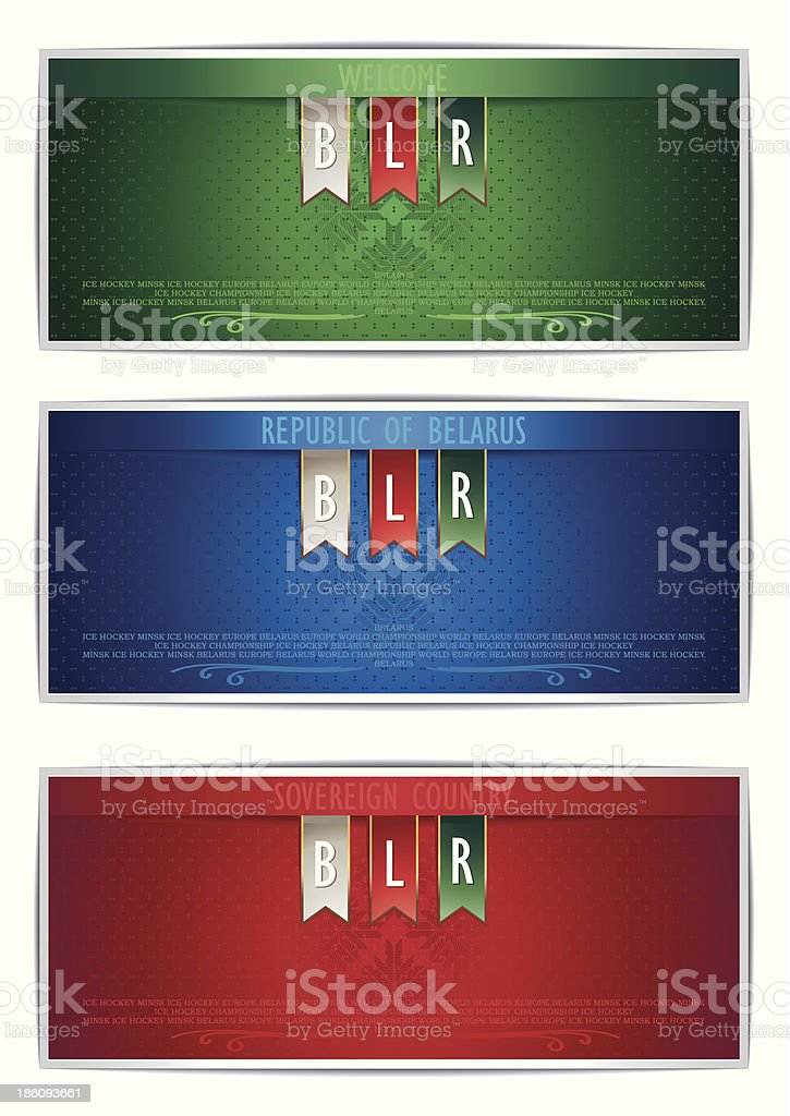 Three Belarus vertical banners with ribbons royalty-free stock vector art