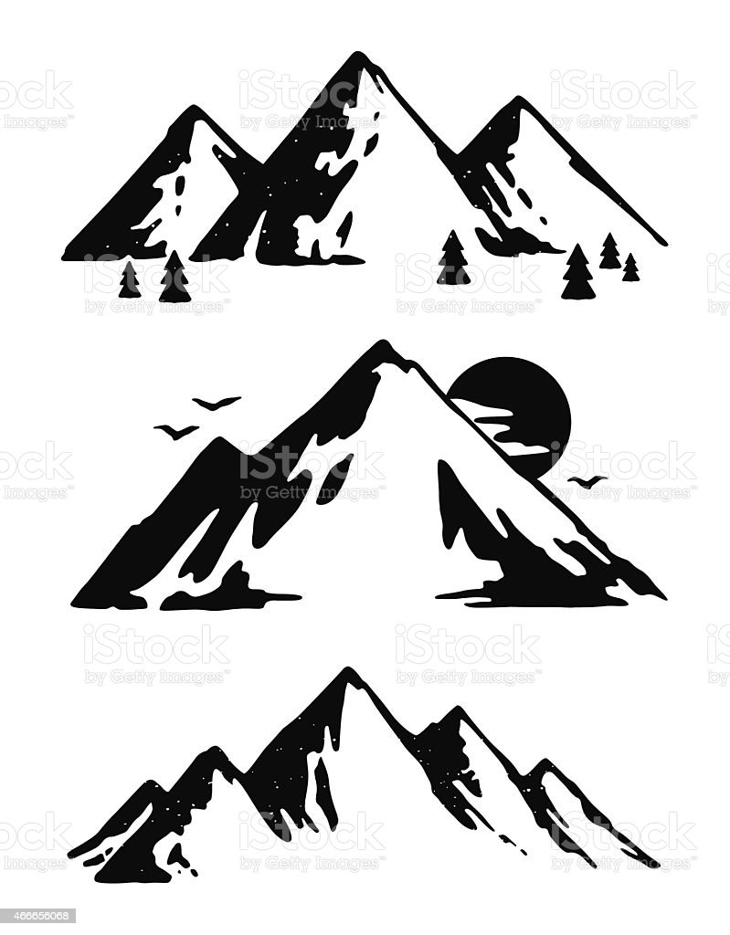 Three black and white mountain images vector art illustration