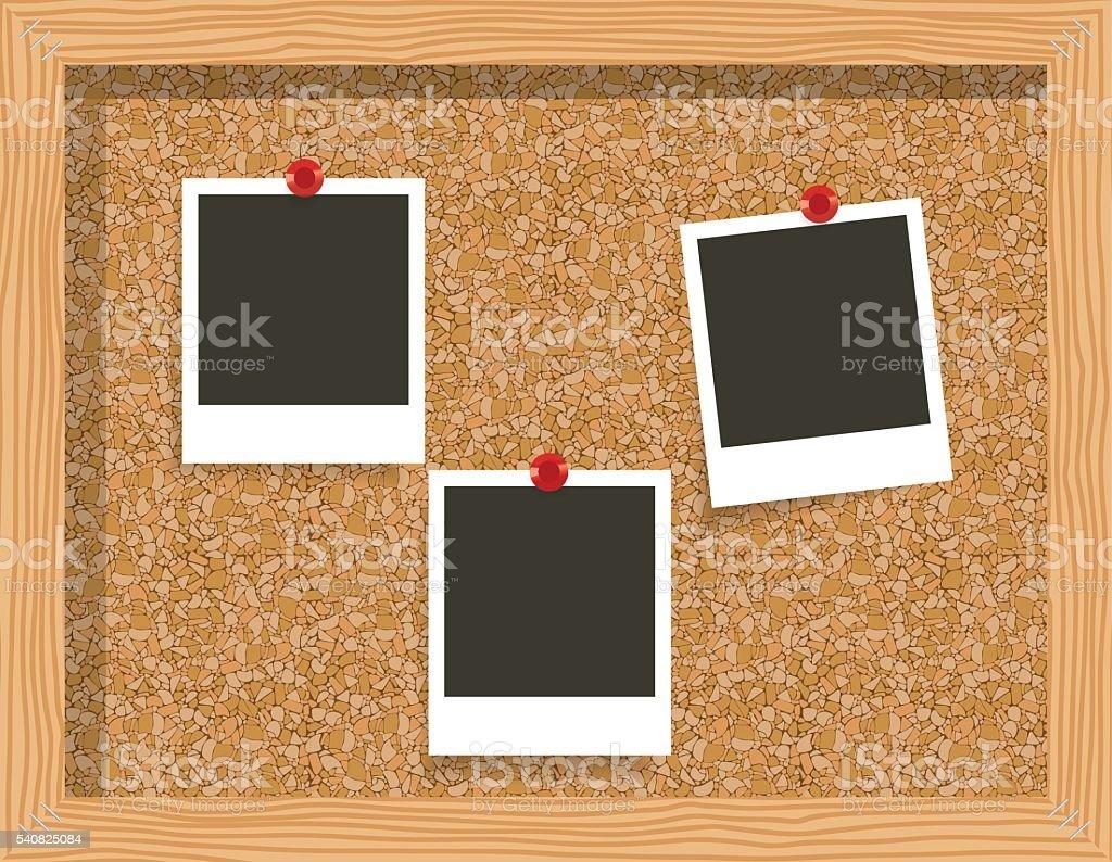 three blank frame photo prints, cork notice board. vector art illustration