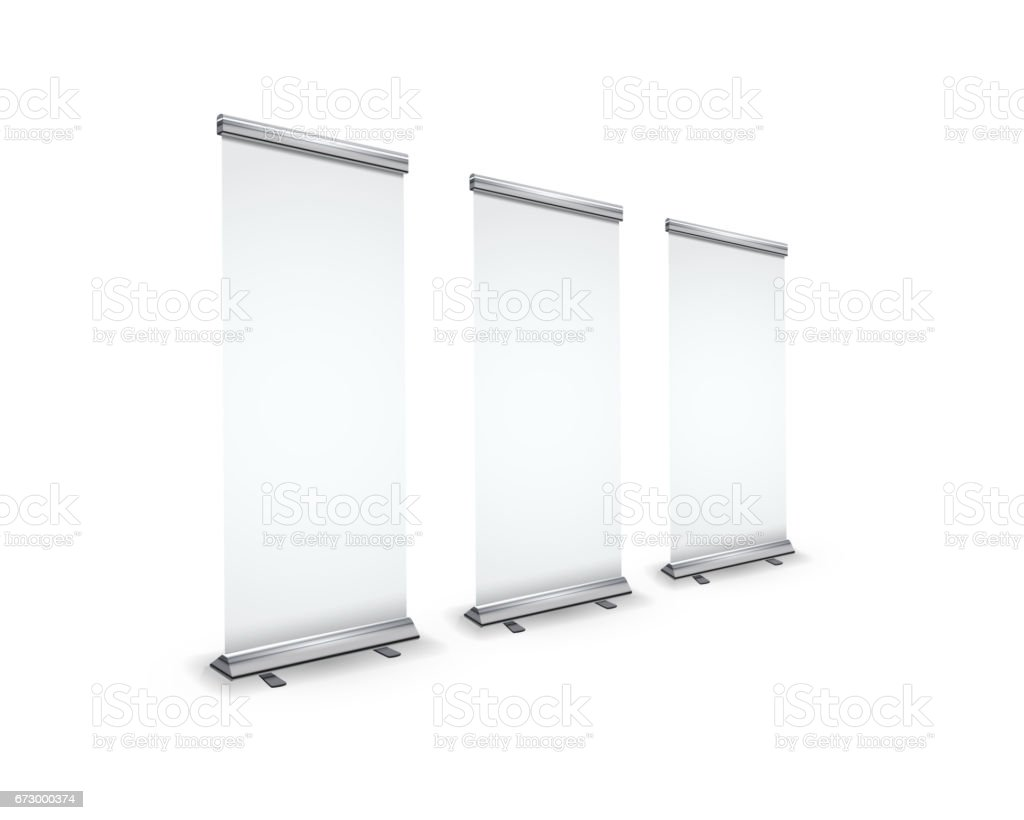 Three blank realistic roll-up banners with shadow in perspective view on white vector art illustration