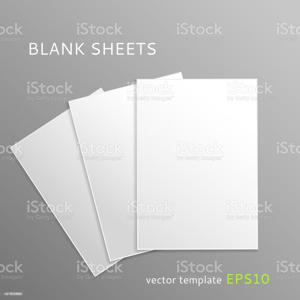 Three blank white paper sheets on a grey background royalty-free stock vector art