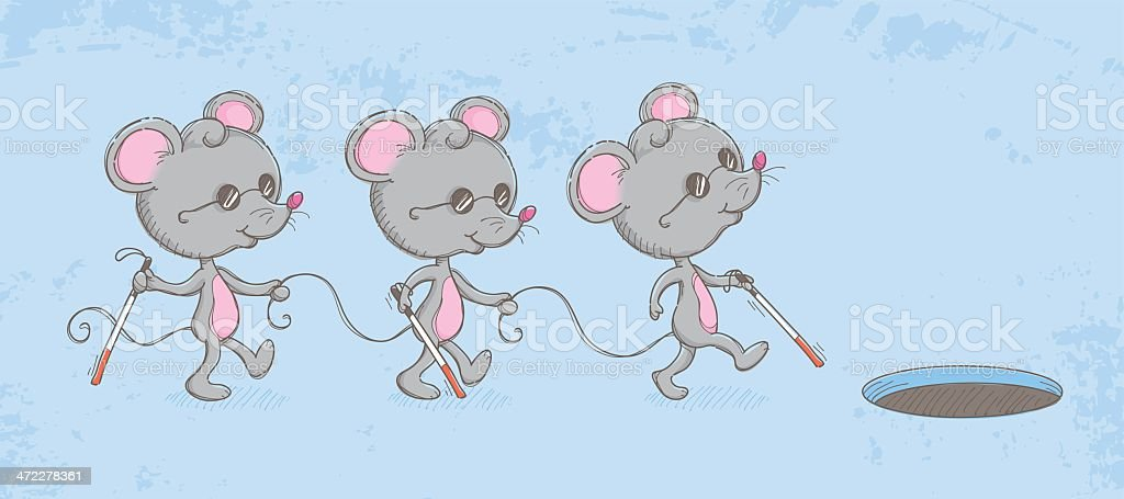 Three blind mice vector art illustration