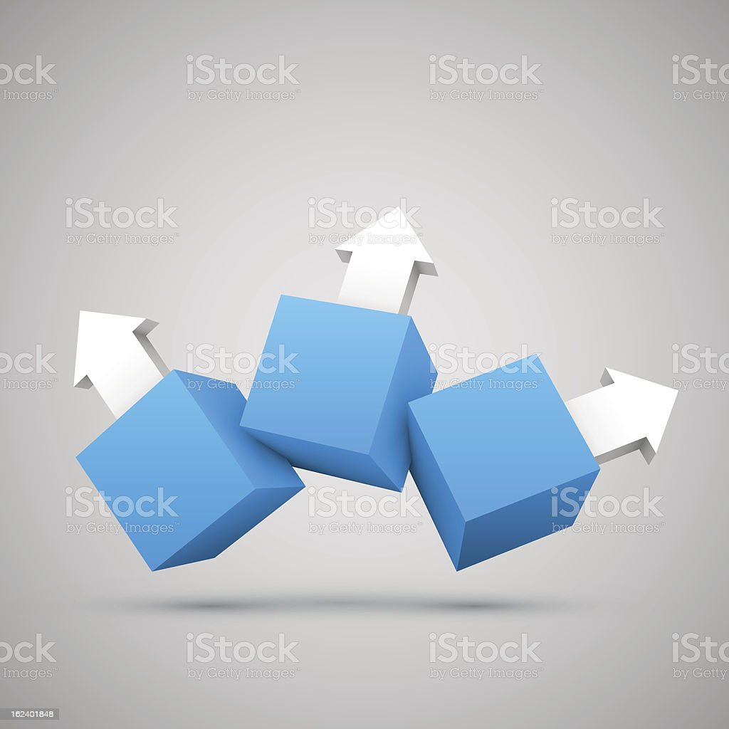 Three blue boxes with arrows 3D royalty-free stock vector art