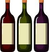 Three bottles of wine with white label
