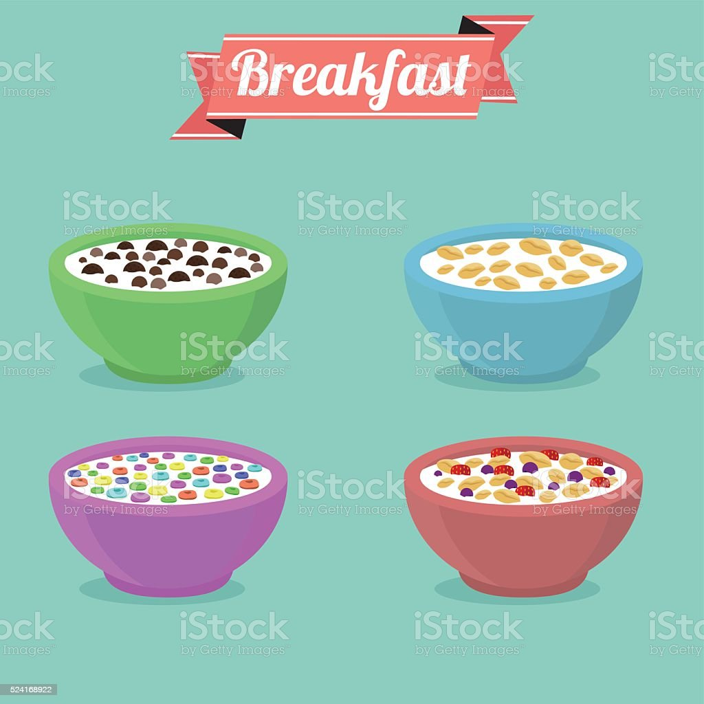 Three bowls of breakfast cereal in different flavors. vector art illustration