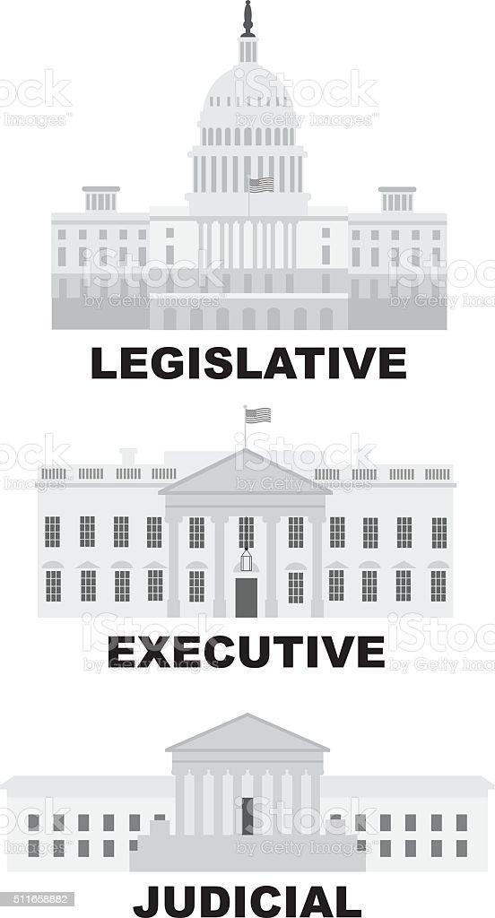 Three Branches of US Government Illustration vector art illustration