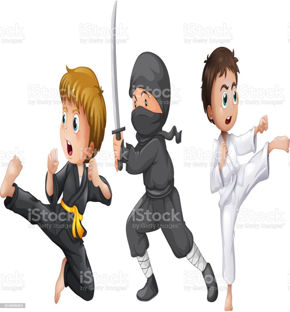 Three brave fighters vector art illustration