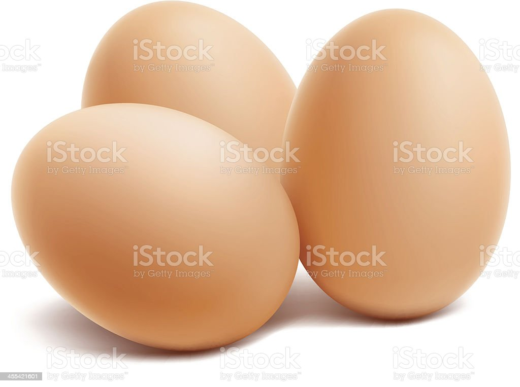Three brown eggs on a white background vector art illustration