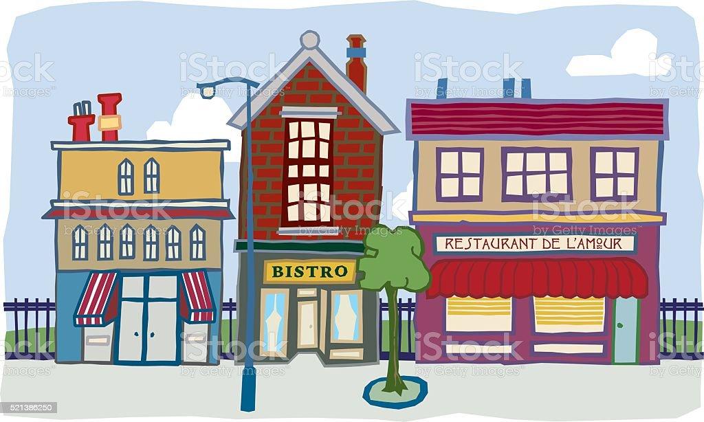 Three buildings vector art illustration