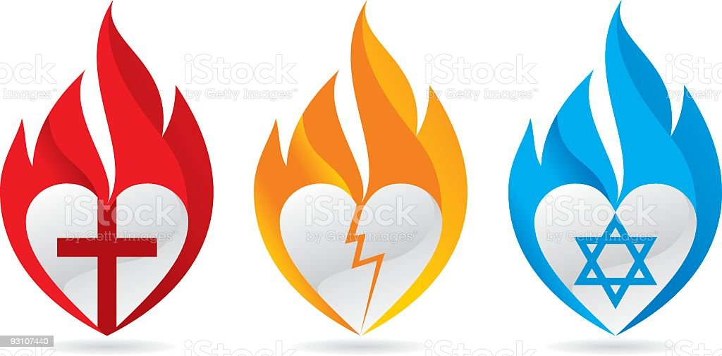 Three burning hearts for justice vector art illustration