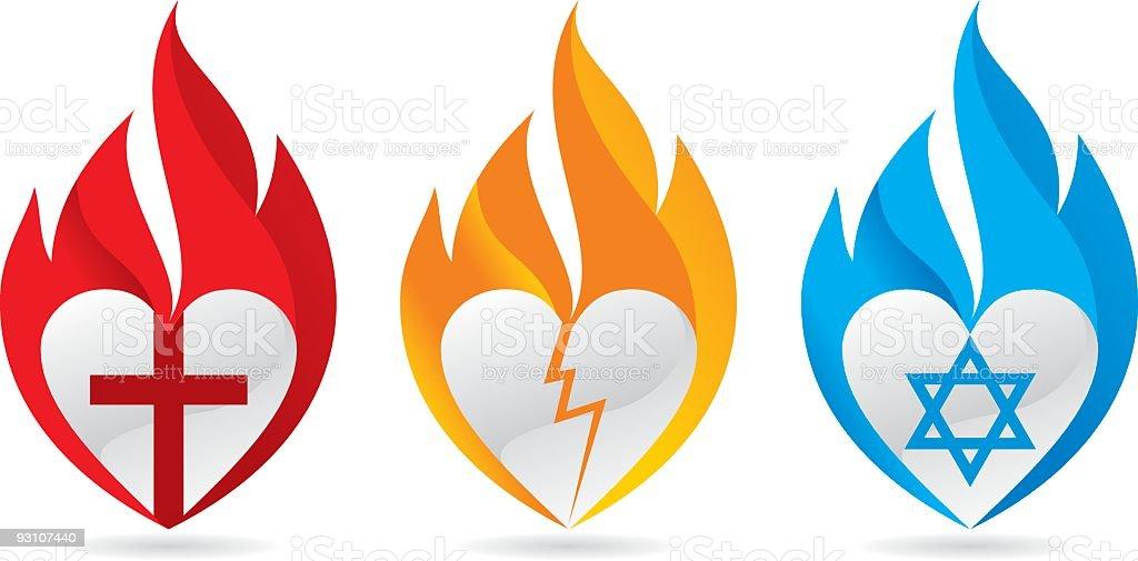 Three burning hearts for justice vector art illustration