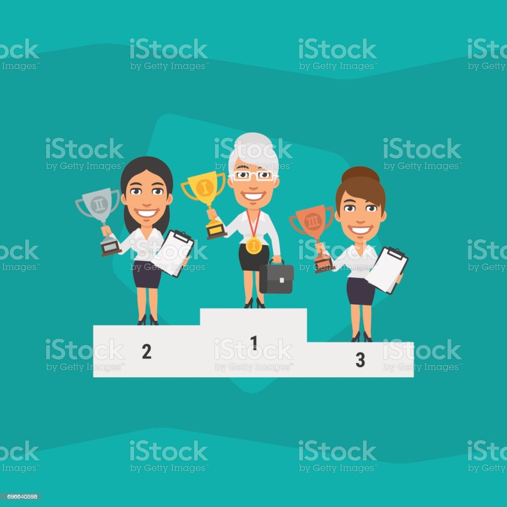 Three Business Woman Standing on Pedestal and Holding Cup vector art illustration