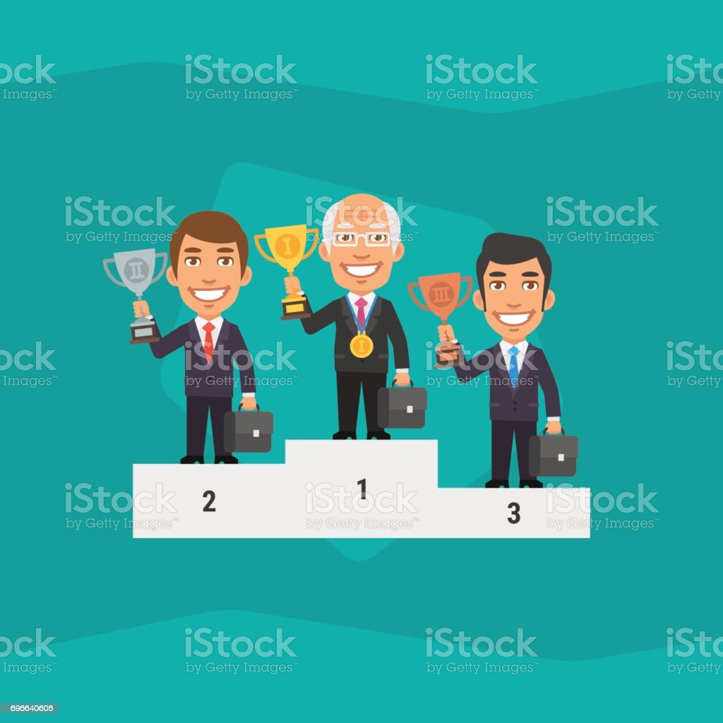 Three Businessman Standing on Pedestal and Holding Cup vector art illustration