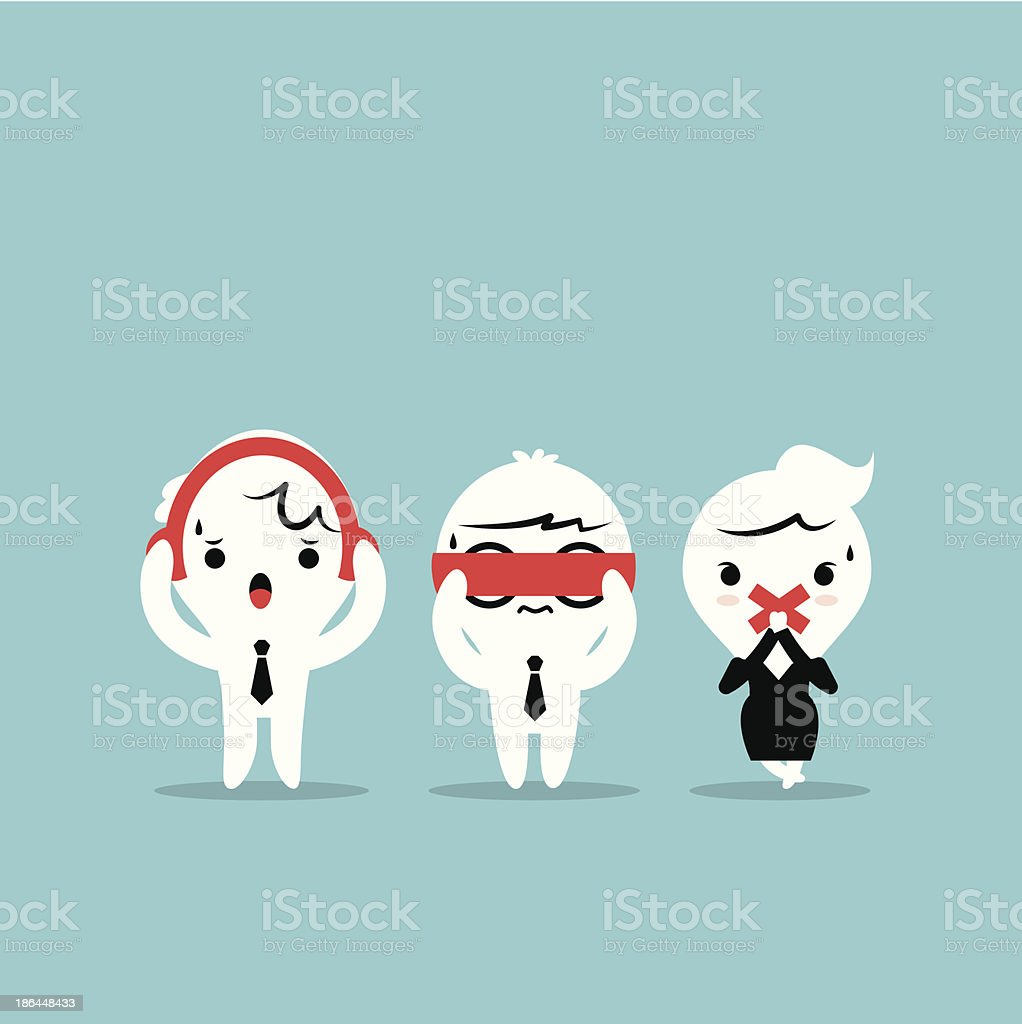 Three businessmen cartoon - 3 wise monkeys. See no evil vector art illustration