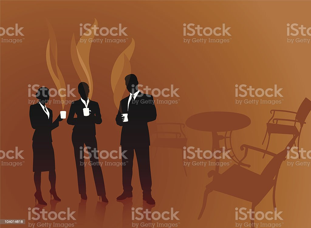 Three businesspeople standing and drinking coffee vector art illustration