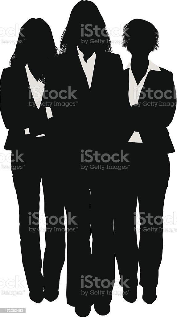 Three businesswomen silhouette vector art illustration