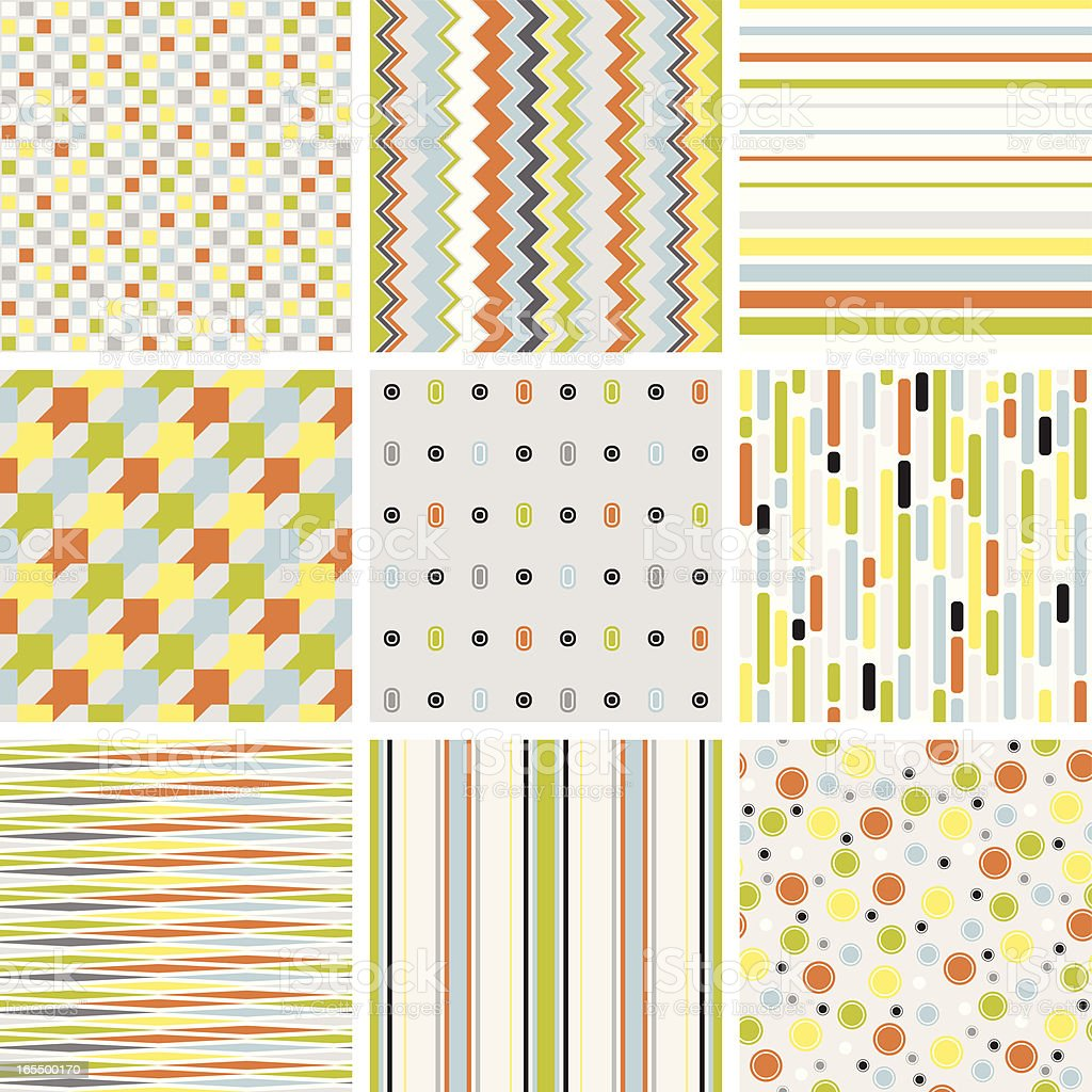 Three by three colorful pattern grid royalty-free stock vector art