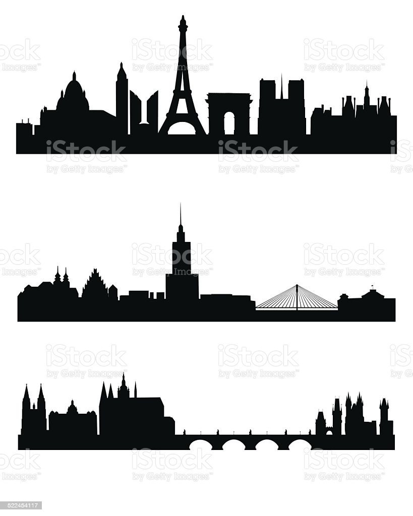 Three capitals silhouettes vector art illustration