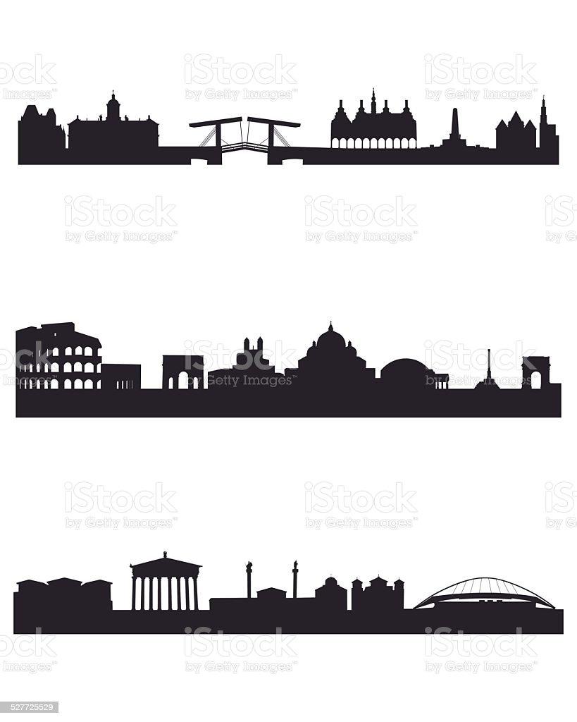 Three capitals silhouettes vector art illustration