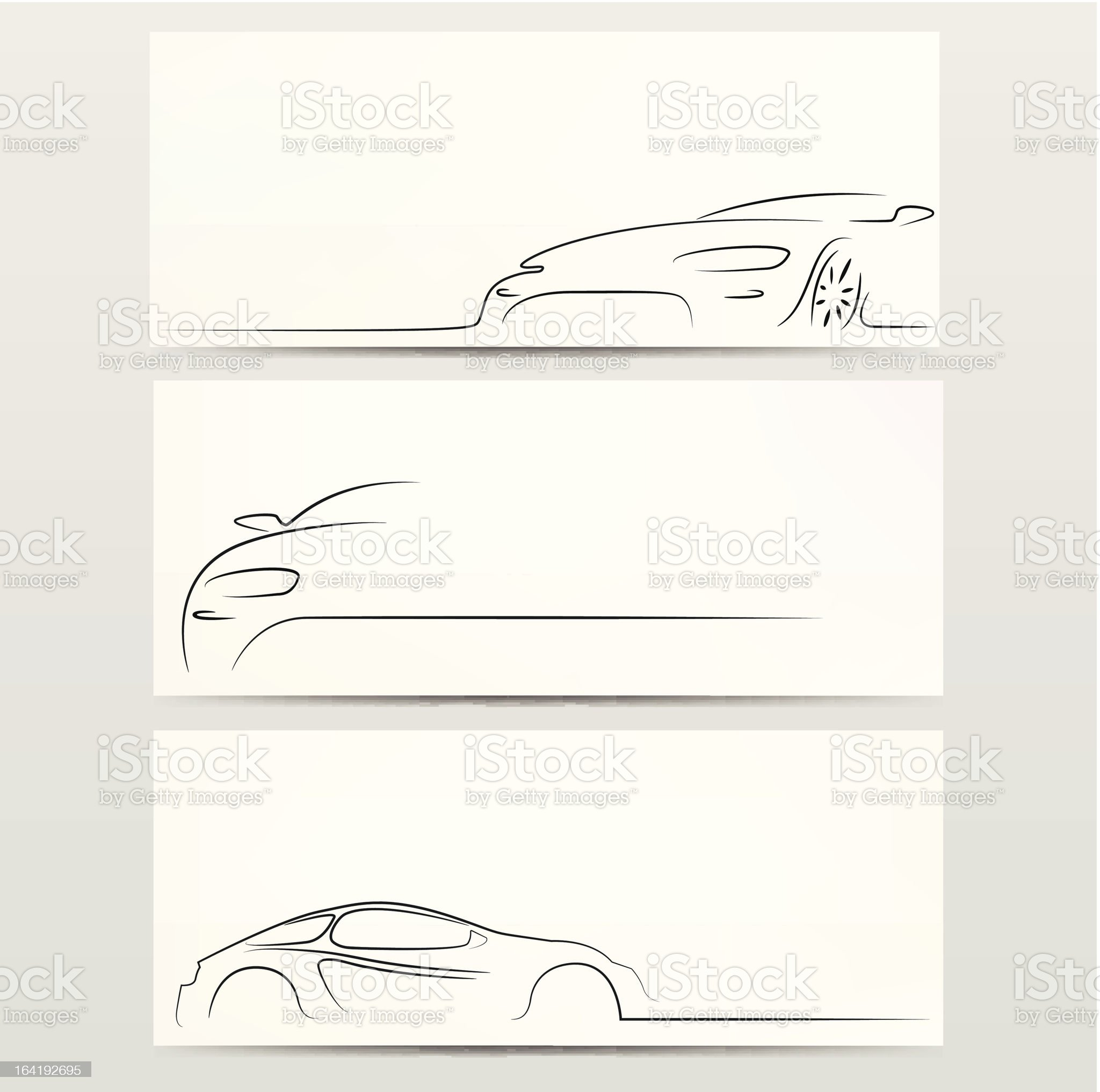 Three car silhouette backgrounds. royalty-free stock vector art