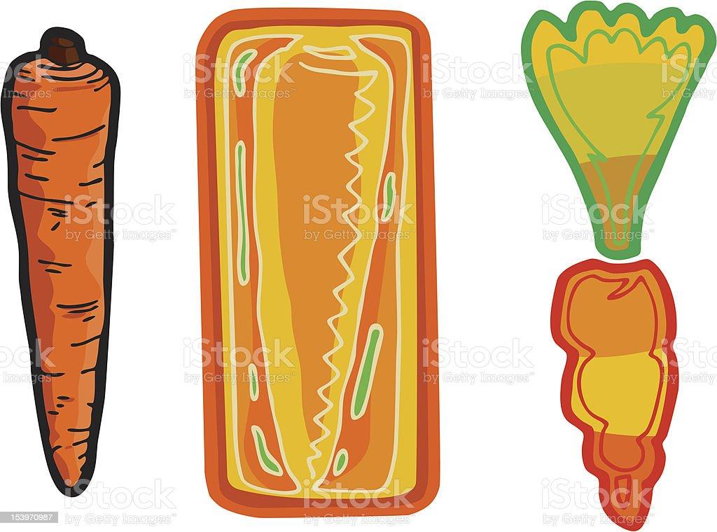 Three Carrots royalty-free stock vector art