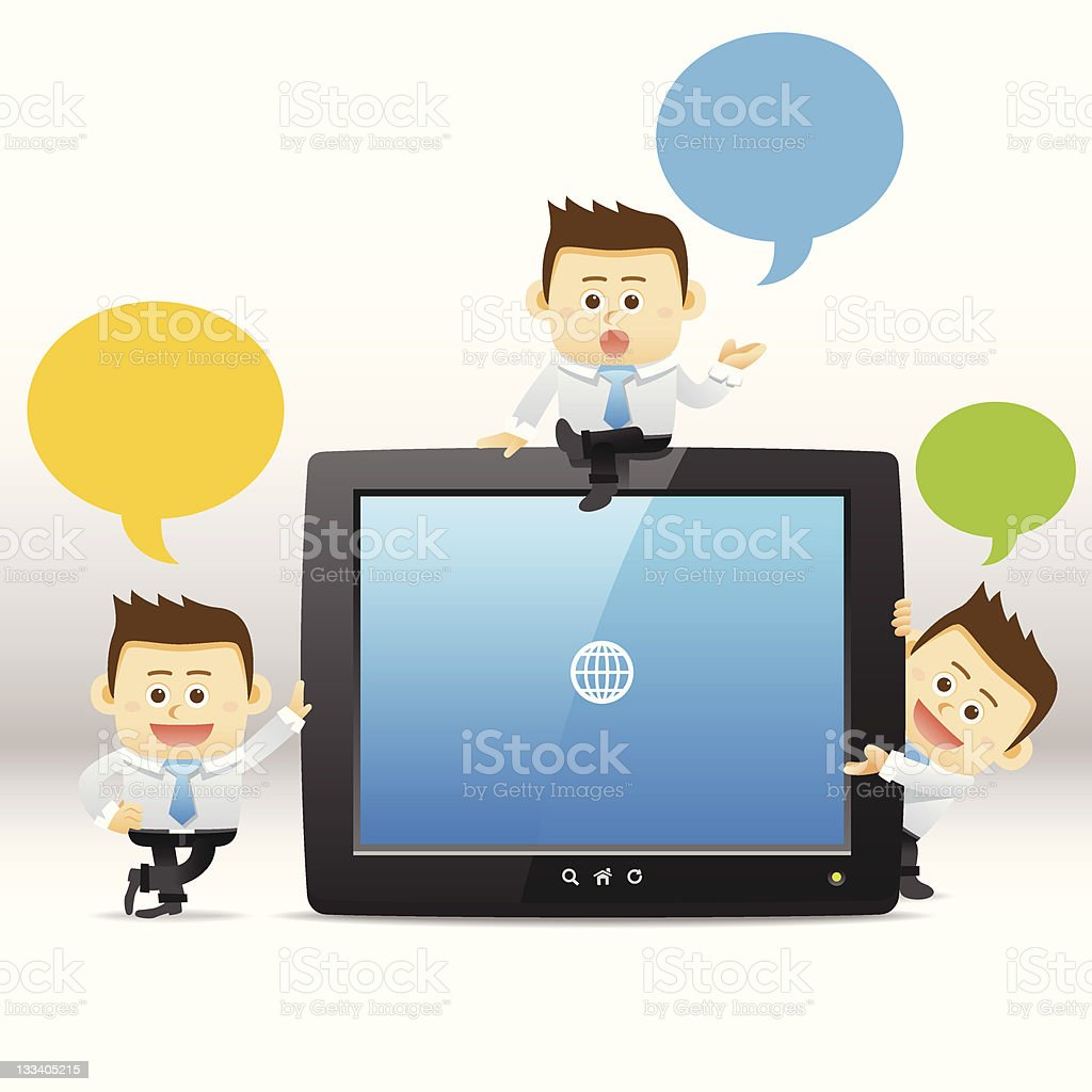 Three cartoon business men surrounding a tablet royalty-free stock vector art