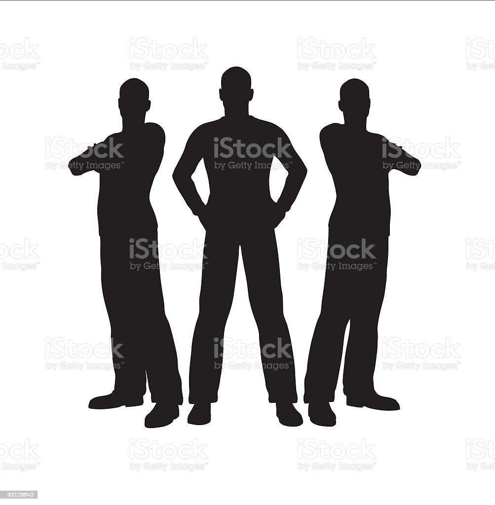 Three cartoon men in silhouette vector art illustration