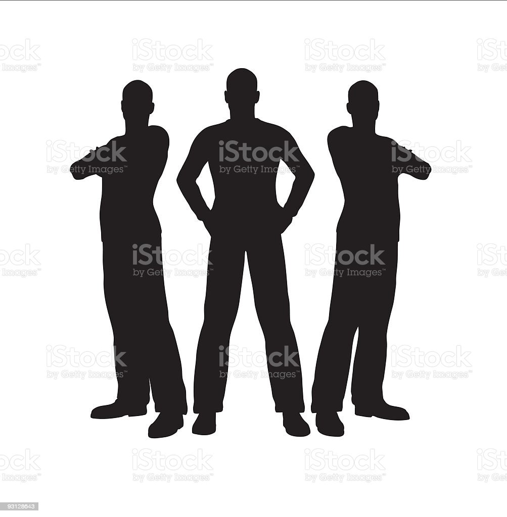 Three cartoon men in silhouette vector art illustration