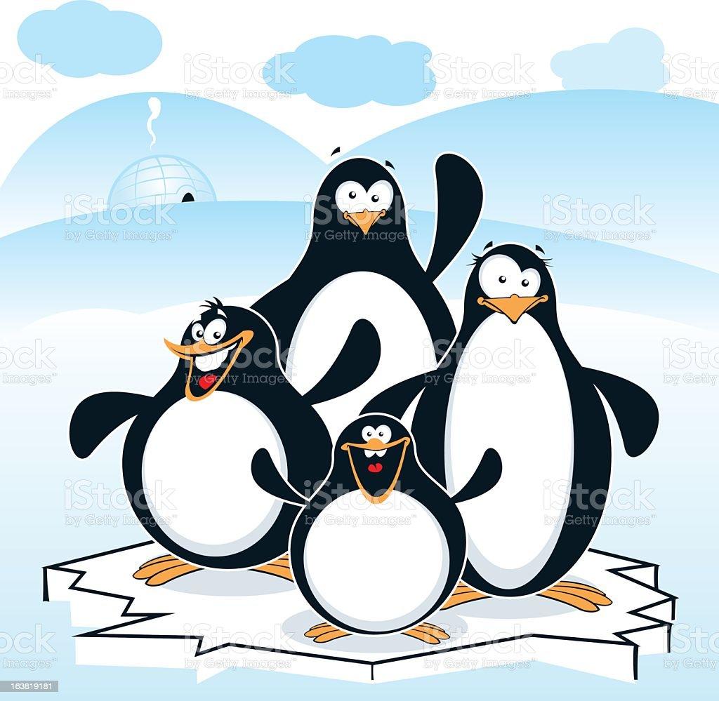 Three cartoon penguins standing on ice chunk royalty-free stock vector art