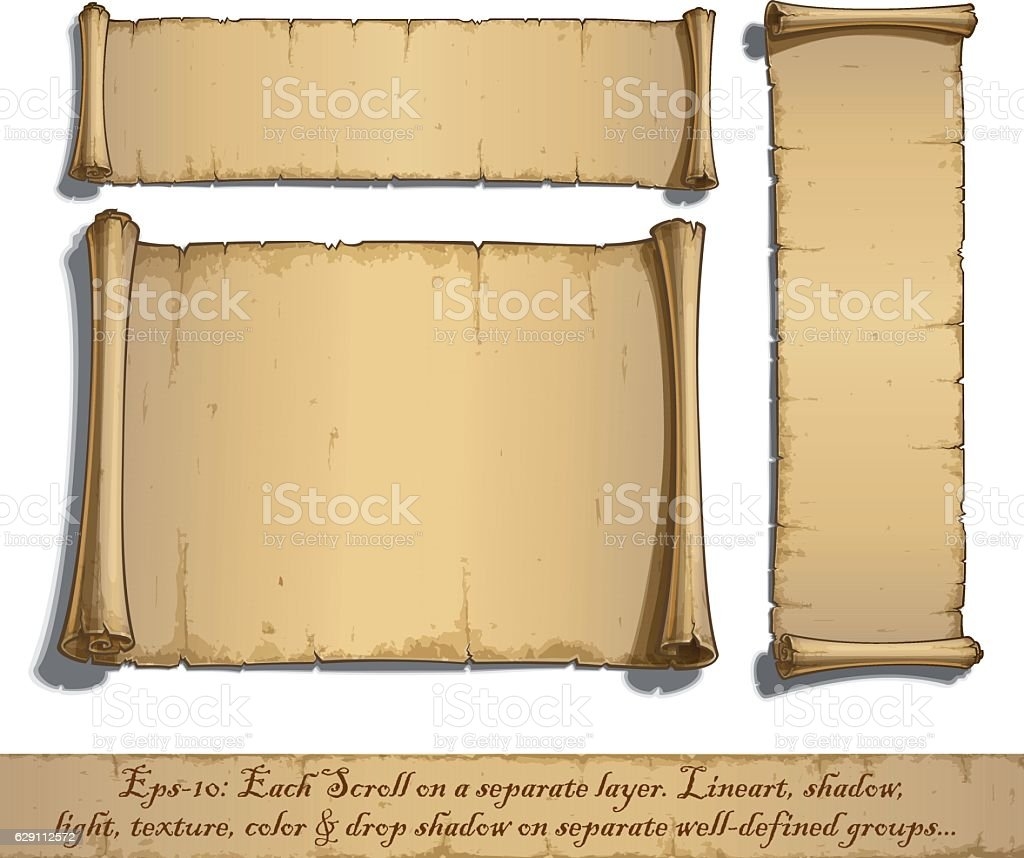 Three Cartoon Scrolls Lying Flat vector art illustration
