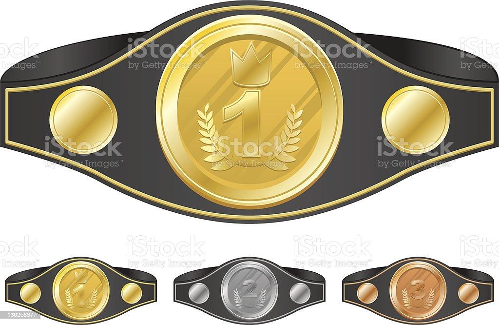 Three champion belts vector art illustration