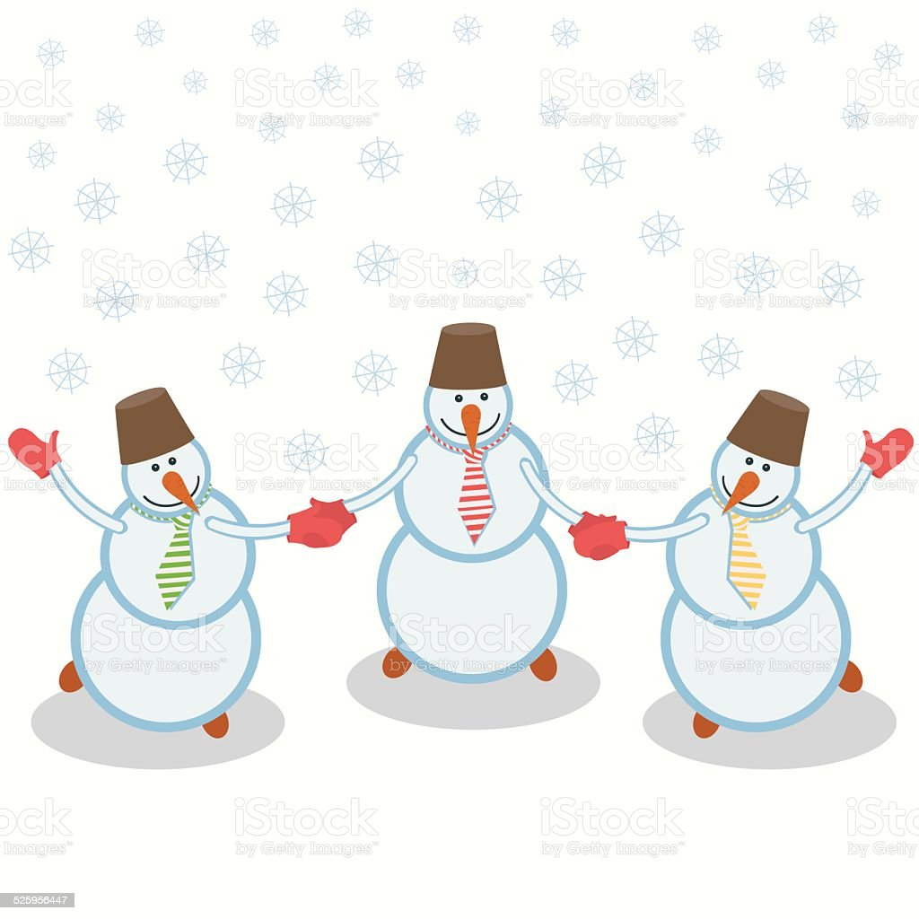 three cheerful snowmen royalty-free stock vector art