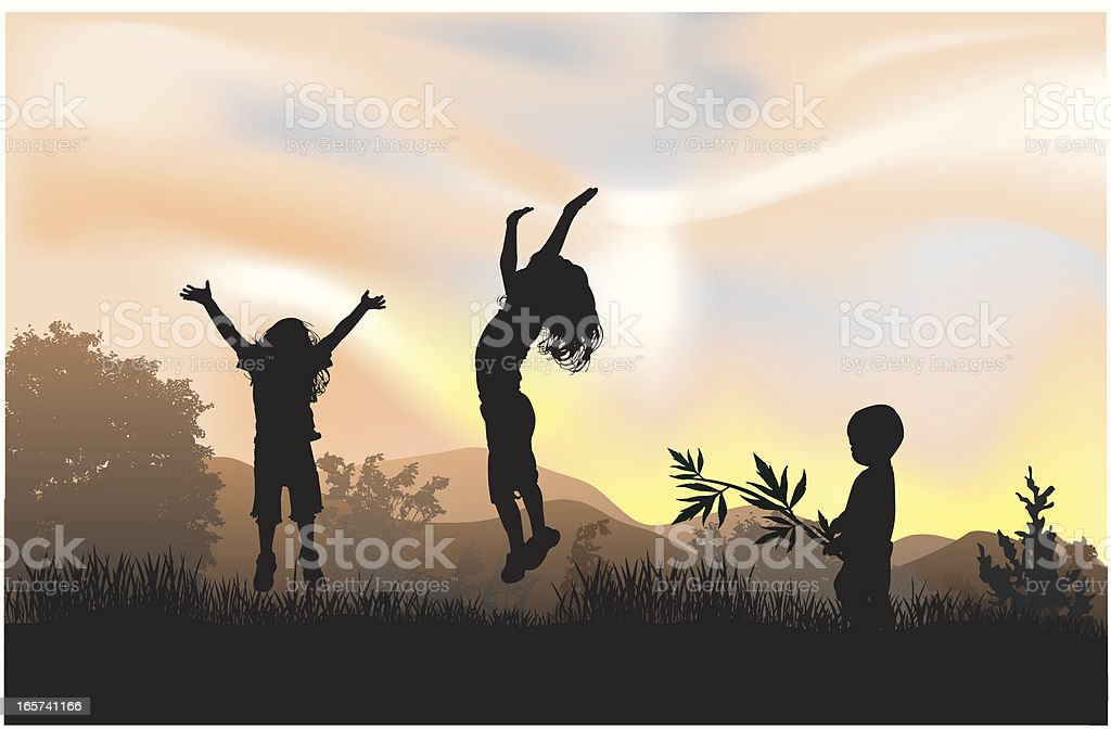 Three children jumping and playing in the sun vector art illustration