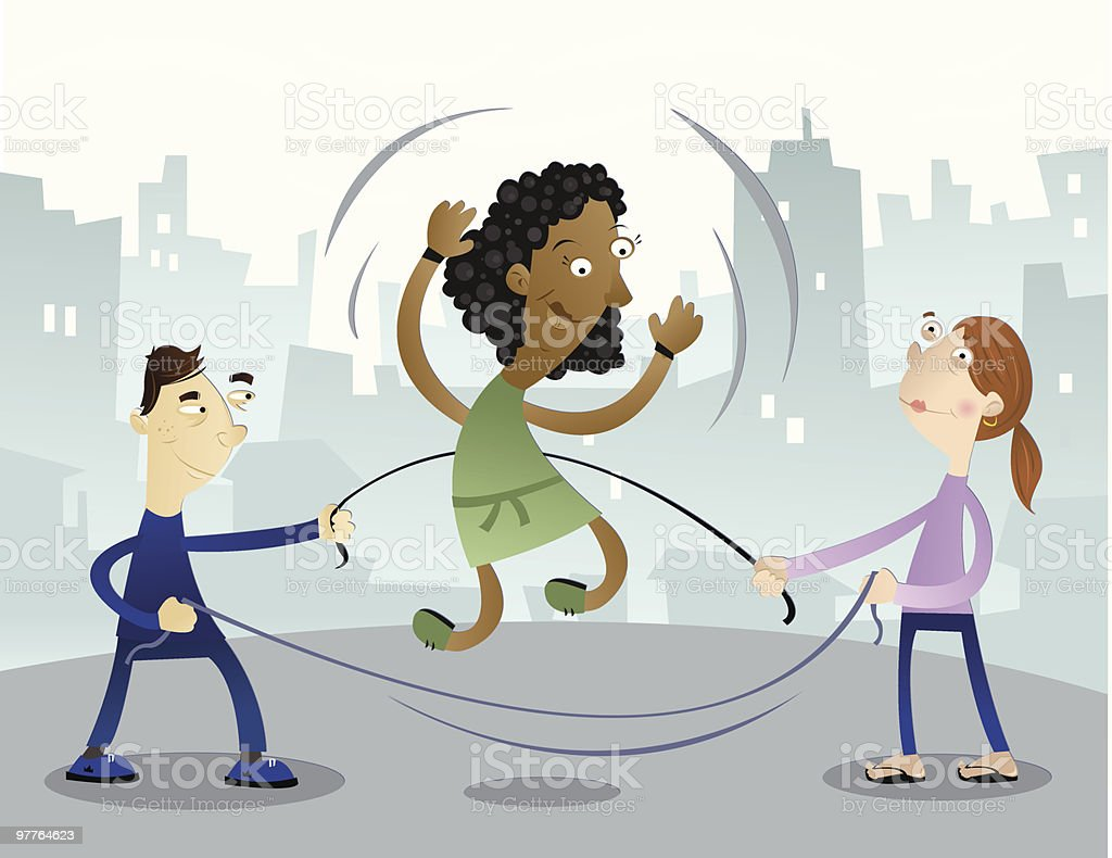 Three Children Playing with Double Dutch Skipping Rope royalty-free stock vector art
