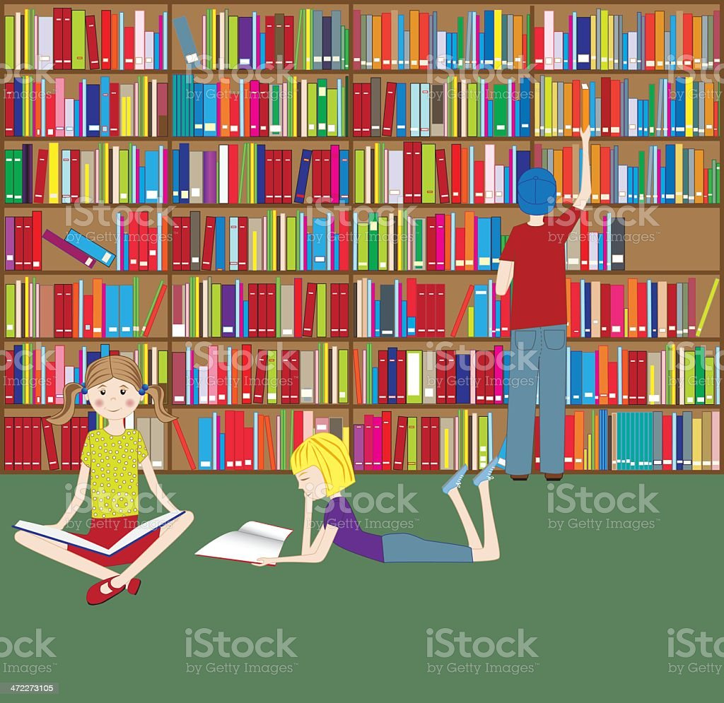 Three Children Reading in Library royalty-free stock vector art