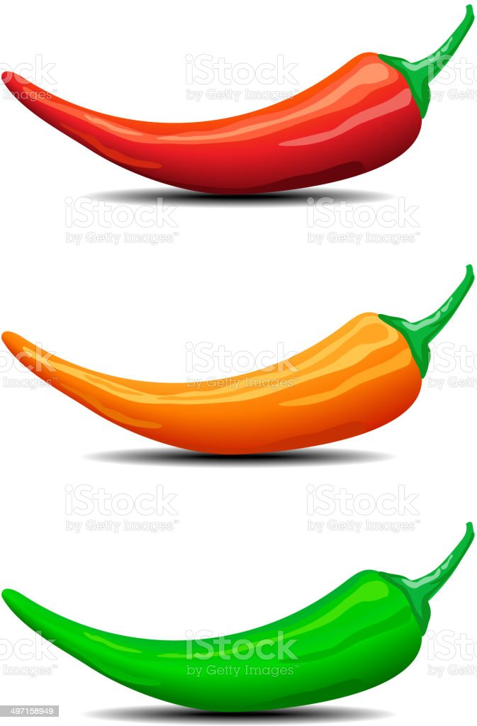 Three Chillies, Peppers vector art illustration