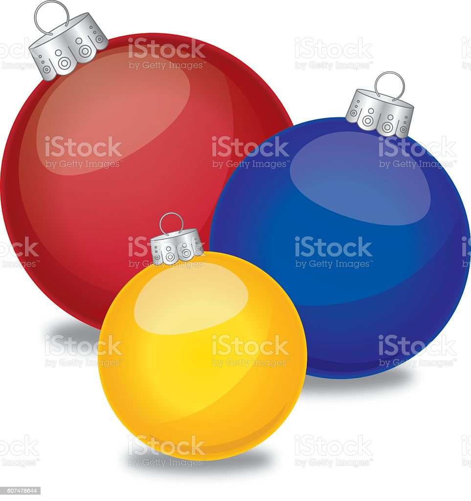 Three Chrismas Ornaments vector art illustration