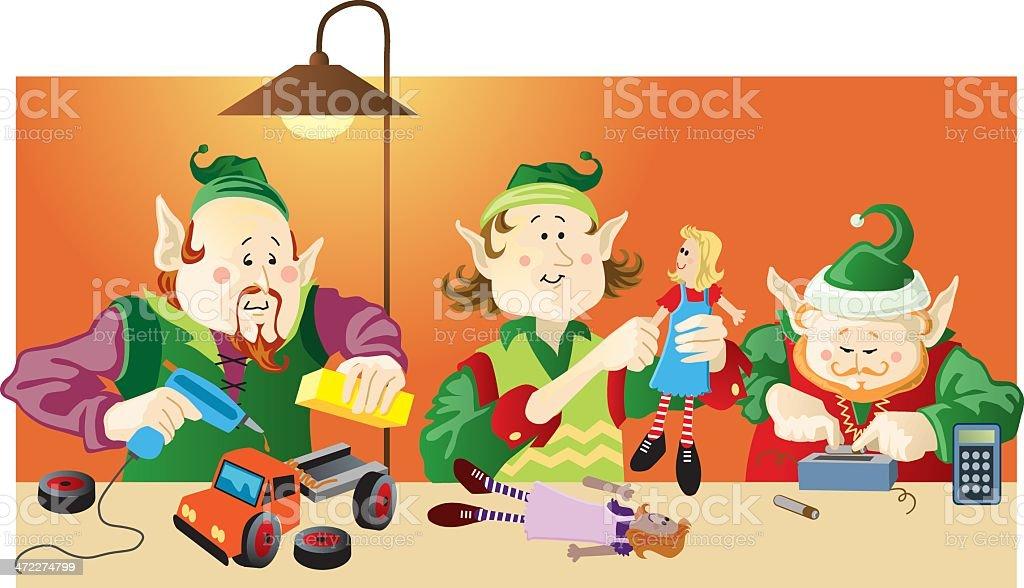 Three Christmas Elves Making Toys Under Lamp Light royalty-free stock vector art