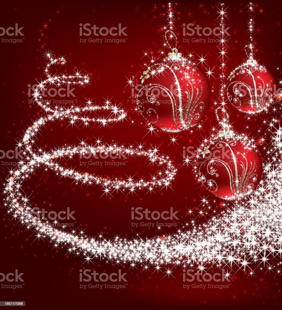 Three Christmas ornaments with glitter swirling around  royalty-free stock vector art