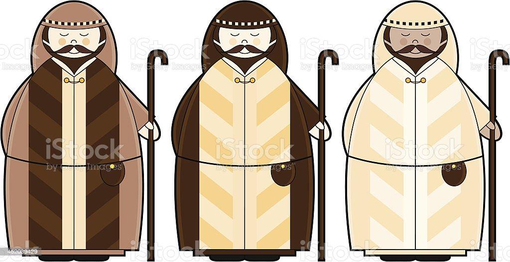 Three Christmas Shepherd Characters royalty-free stock vector art