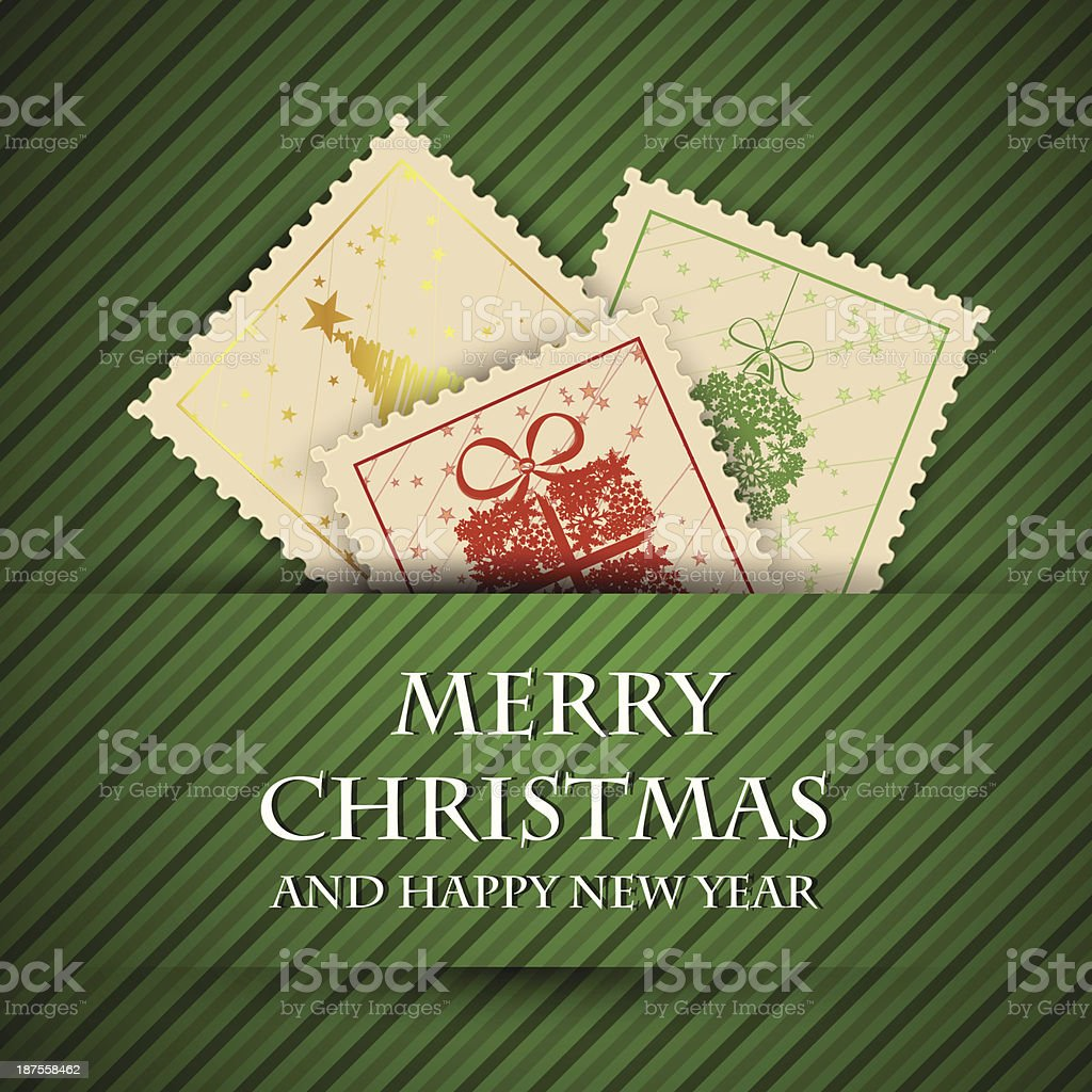 three christmas stamps with green background royalty-free stock vector art