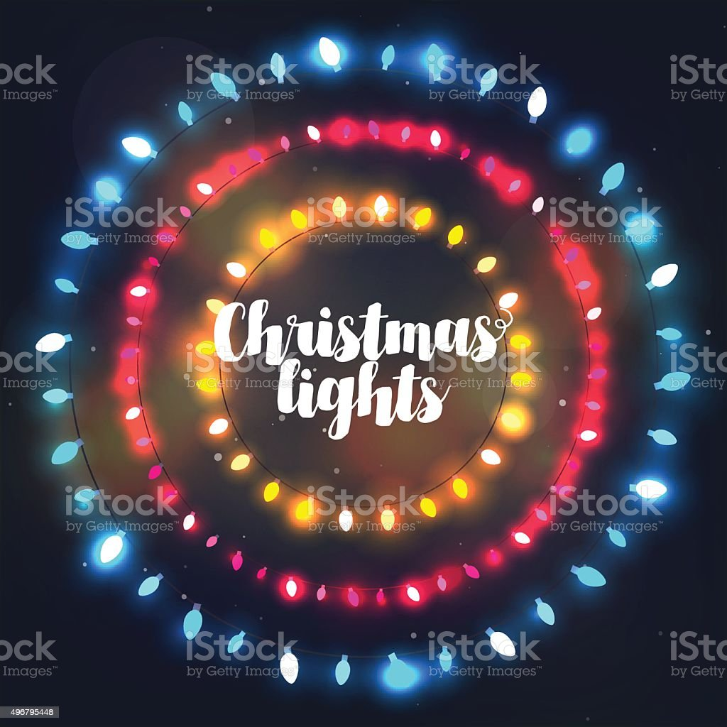 Three circle Christmas light borders of different colors for holidays vector art illustration