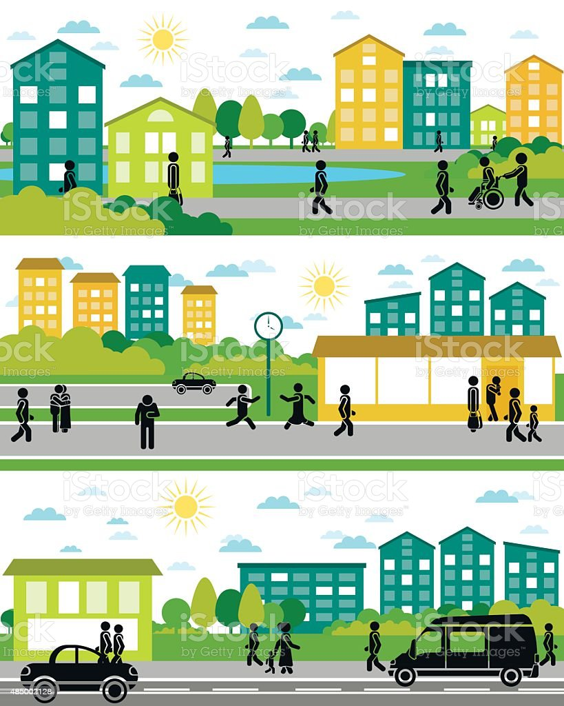 Three city life scenes vector art illustration