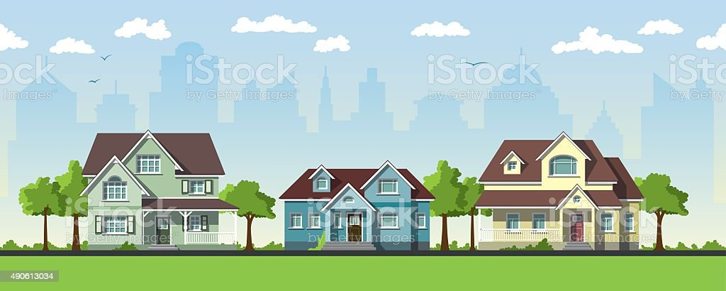 Three classical country house in the suburbs vector art illustration