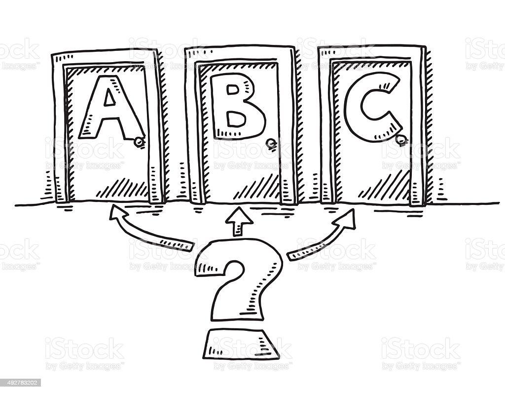 Three Closed Doors Decision Concept Drawing vector art illustration