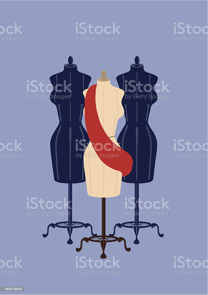 Three Clothes Mannequins with Red Sash on Blue royalty-free stock vector art