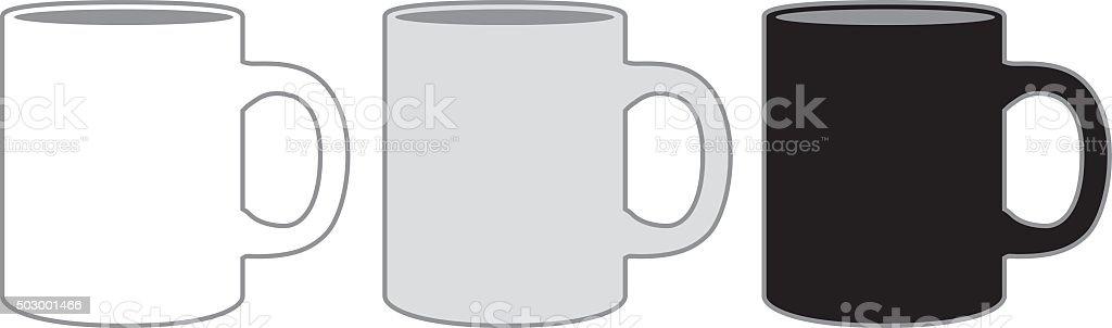 Three Coffee Mugs vector art illustration