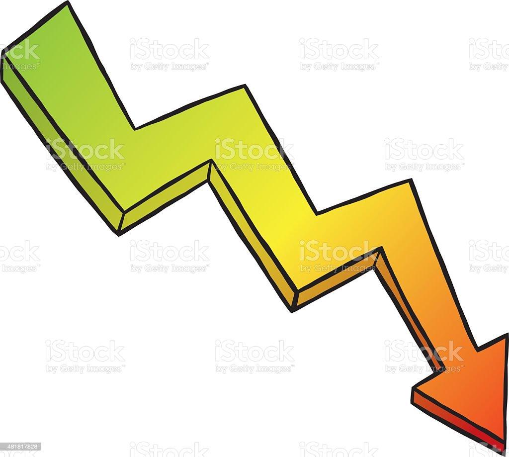 three color gradient falling diagram arrow vector art illustration