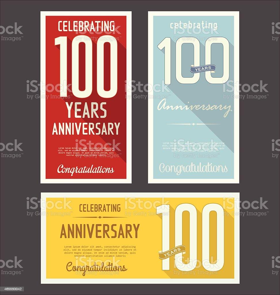 Three colorful anniversary retro style banners vector art illustration
