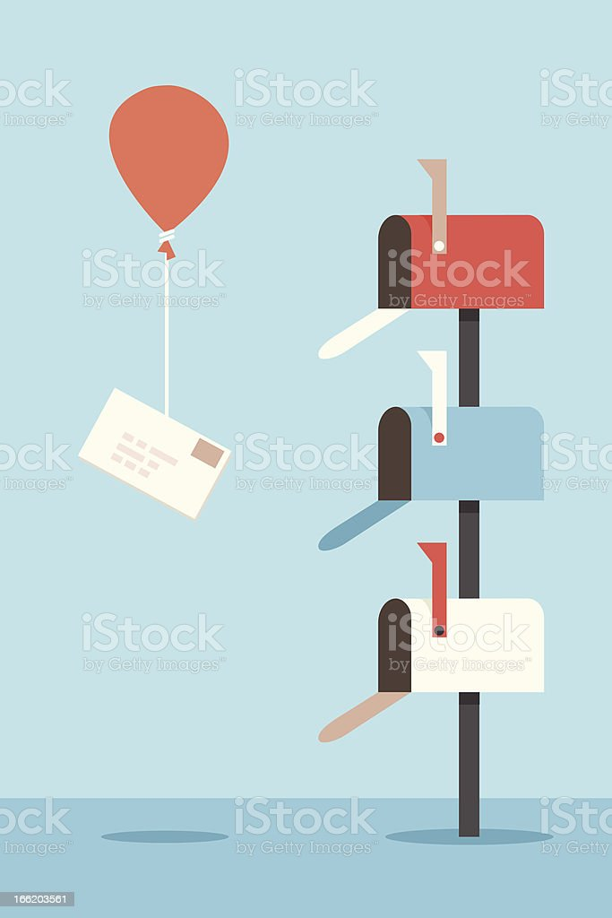 Three colorful mailboxes with a red balloon delivering mail vector art illustration